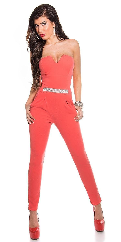 Koucla Elegante Bandeau Basica con Strass Fibbia e Cut OUTS Tenendo in. Colori e Dimensioni–Jumpsuit Costume Intero (ov6756)