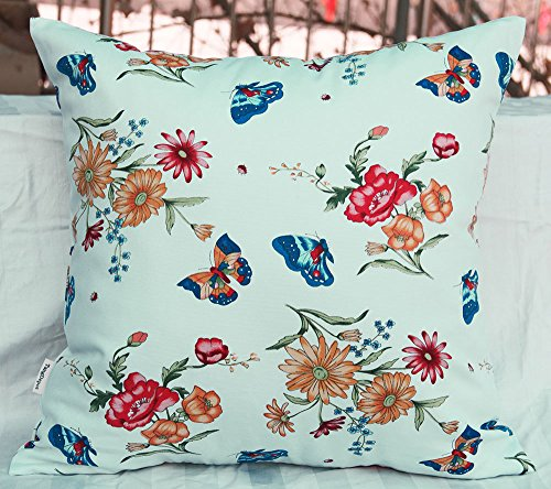 TangDepot 100% Cotton Floral/Flower Printcloth Decorative Throw Pillow Covers/Handmade Pillow Shams - Many Colors, Sizes Avaliable - (18