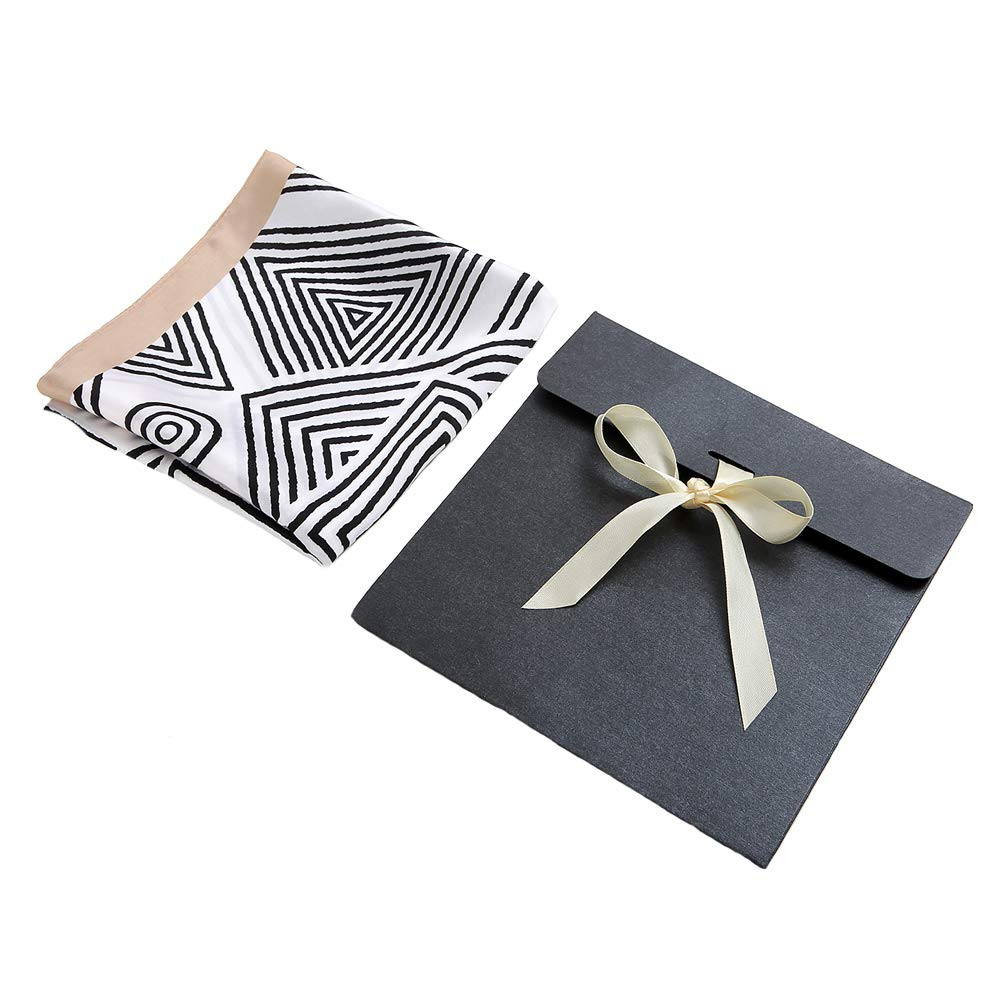 Silk Scarf Square Satin Headscarf Stripe Neck Hair Scarfs for Women Beige with Gift Package