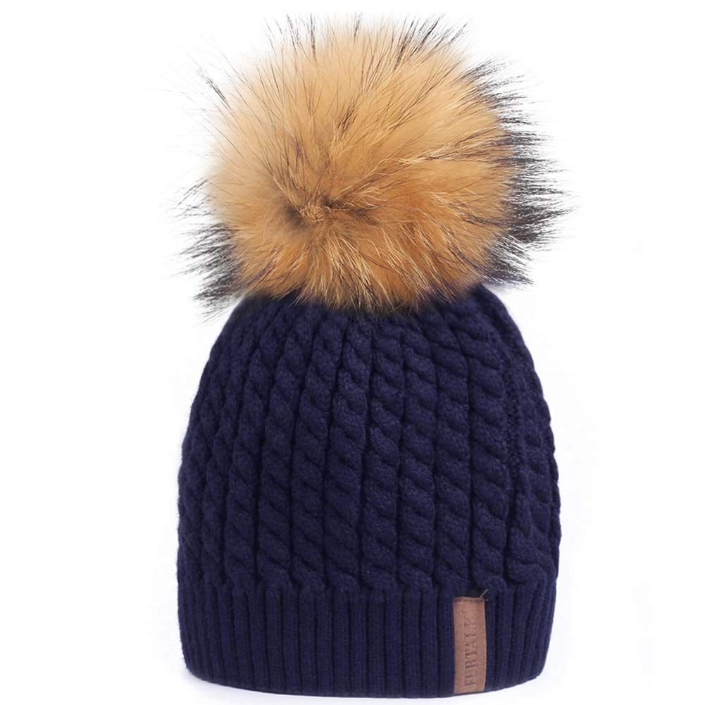 Navy bluee (Real Raccoon Fur) Soft Solid Ribbed Stretch Cable Knit Faux Fur Pom Pom Beanie Hat