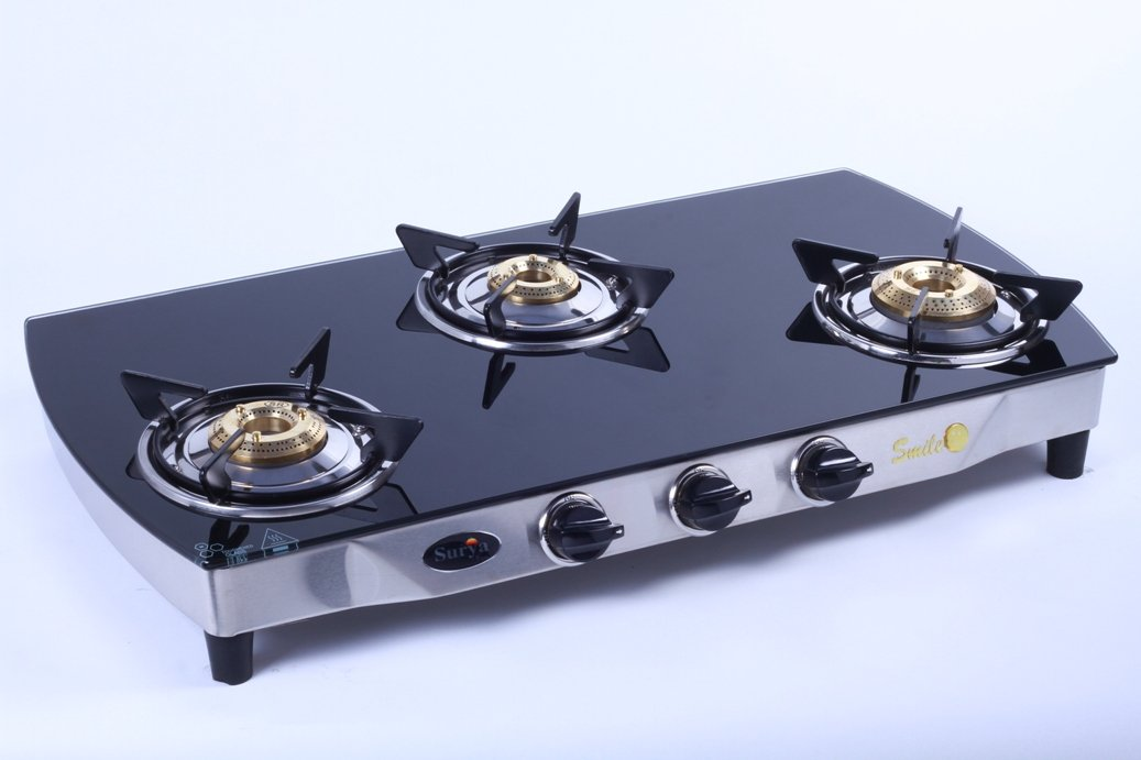 Buy Surya C 3 Burner Smart Gas Stove Black Glass Top Online At Low Prices  In India   Amazon.in