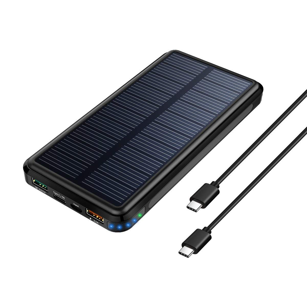 Solar Charger, 24000mAh Solar Portable Charger with QC 3.0 and Type C/PD input&output by Dizaul
