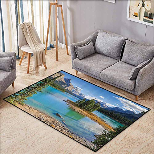 (Outdoor Patio Rug,Lake House Decor Collection,Maligne Lake in Jasper Natioanal Park,Rustic Home)