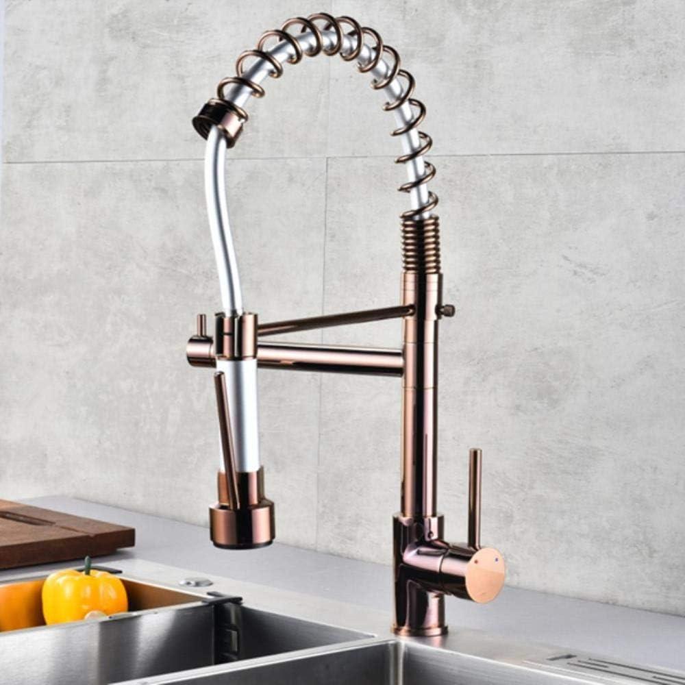Rose Gold Spring Robinet de cuisine Tirer c/ôt/é Pulv/érisateur deux t/êtes de remplissage mitigeur mitigeur robinet d/évier 360 Rotation robinet de cuisine or rose et noir