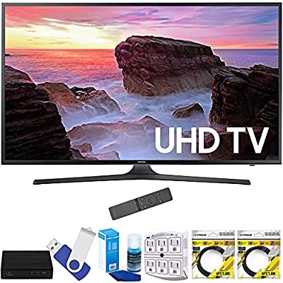 "Samsung UN40MU6300FXZA 40"" 4K Ultra HD Smart LED TV (2017 Model) Plus Terk Cut-the-Cord HD Digital TV Tuner and Recorder 16GB Hook-Up Bundle"