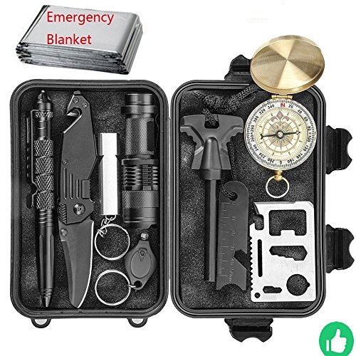 Emergency Survival Gear Kit, 10 in 1 Outdoor Survival Tool EDC with Fire Starter, Flashlight, Whistle, Compass for Camping Fishing Kit Travel Wild Adventure Earthquake Birthday Mens Christmas Gift