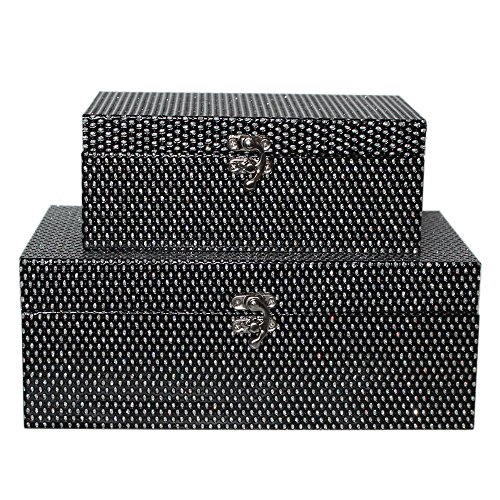 MODE HOME Black Glitter Wooden Gift Boxes Decorative Storage