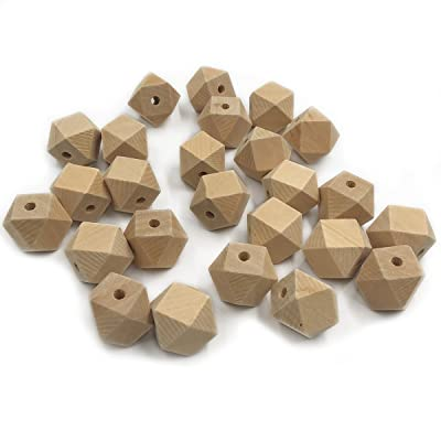 Wendysun 50PCS Natural Organic Maple Unfinished Hexagon Geometric Wooden Beads DIY Polyhedron Cube Beads Accessories&Crafts Baby Teether Hanging Materials Wooden Teether (50PCS): Arts, Crafts & Sewing