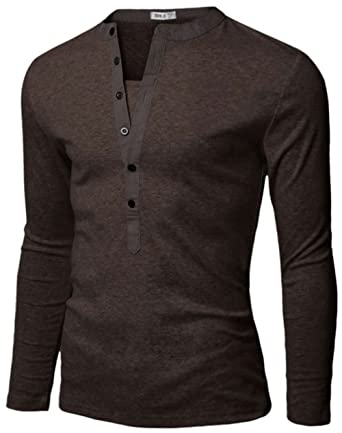Doublju Mens Basic Slim Fit Long Sleeve Henley Shirts at Amazon ...