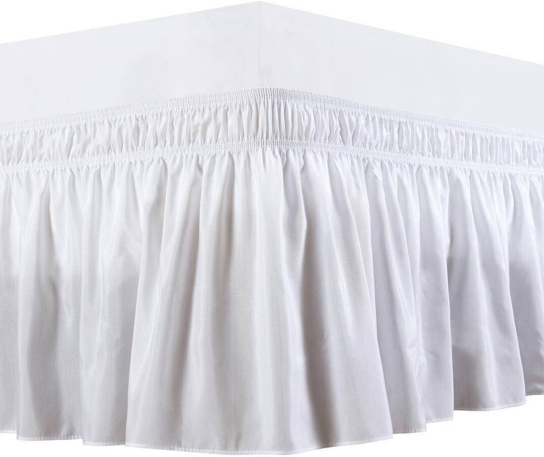 Bedding Overseas Three Fabric Sides Wrap Around Elastic Solid Bed Skirt, Easy On/Easy Off Dust Ruffled Bed Skirts 14 Inch Tailored Drop (White Queen )