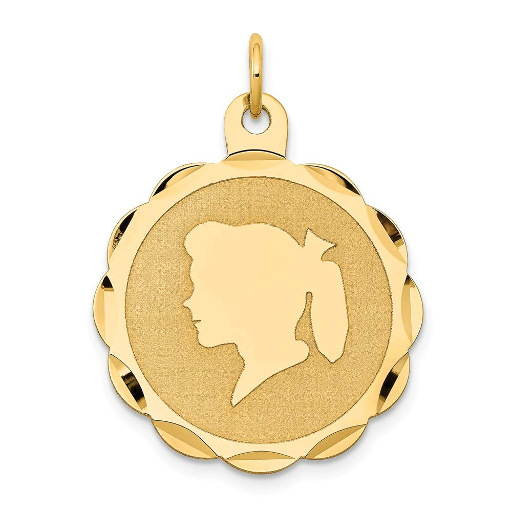 29mm x 4mm Solid 14k Yellow Gold Girl Head on .018 Gauge Engravable Scalloped Disc Charm Pendant