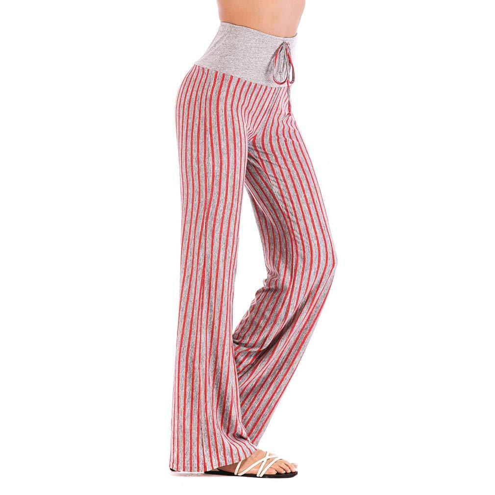 Women's Stripe Yoga Pants High Waist Elasticated Drawstring Trousers Autumn Comfortable Straight Leg Pants Bottoms for Yoga Sports Workout Gym Fitness Exercise ZT091008-X