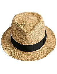 Sedancasesa Men Straw Porkpie Fedora Hat Summer Derby Upturn Brim Sun Jazz Hats