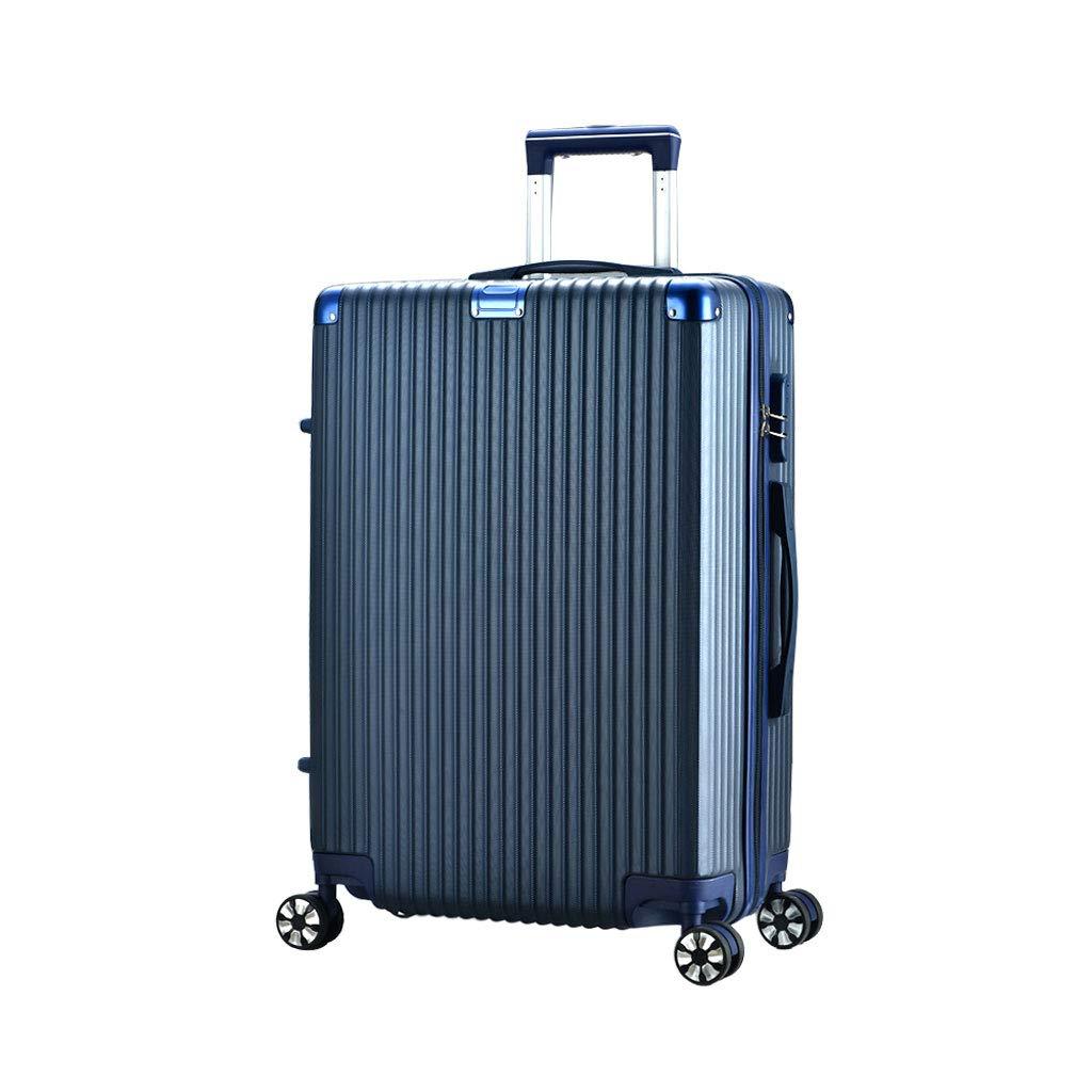 スーツケース旅行ABSハードシェル4ホイールキャリートラベルトロリーハンドキャビン荷物スーツケース、ネイビーブルー B07MJP7RYN  42*25*63cm