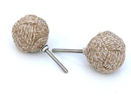 RII Nautical Jute Rope Door Knobs/Rope Knot Drawer Pulls And Knobs/Pull And