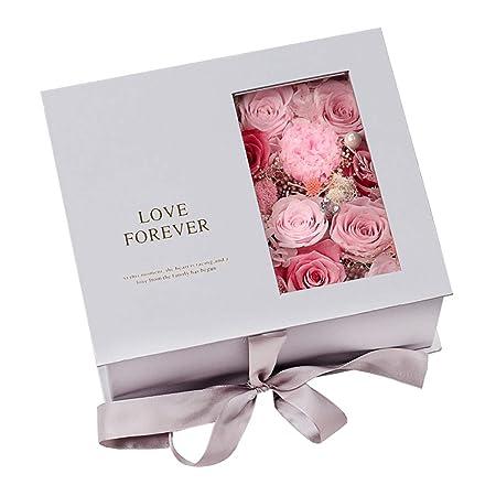 Flor de rosa artificial Caja de regalo de Rose preservada ...