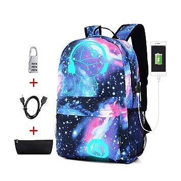CCDZ Luminoso Galaxia Mochila con Puerto De Cargador USB Bolsa Cuaderno Al Aire Libre Impresión Computadora Niño Niña Propósito General Neutral ...