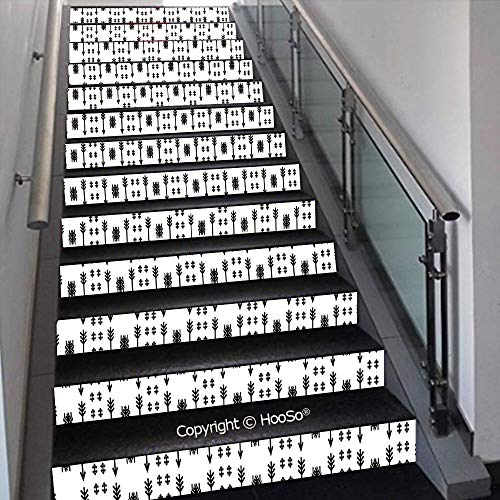 PUTIEN Self-Adhesive Stair Risers Stickers Vinyl Staircase Stickers Stairway Decal Wallpaper, Waterproof, Anti-Stain,Ornate Floral Pattern with Swirls Curls Symmetrical Overlap,39.3