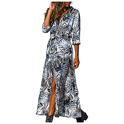 Yxiudeyyr Women V Neck Long Sleeve Maple Leaves Print Print Maxi Dress Button Down Split Loose High Waist Casual Beach Dress: Clothing