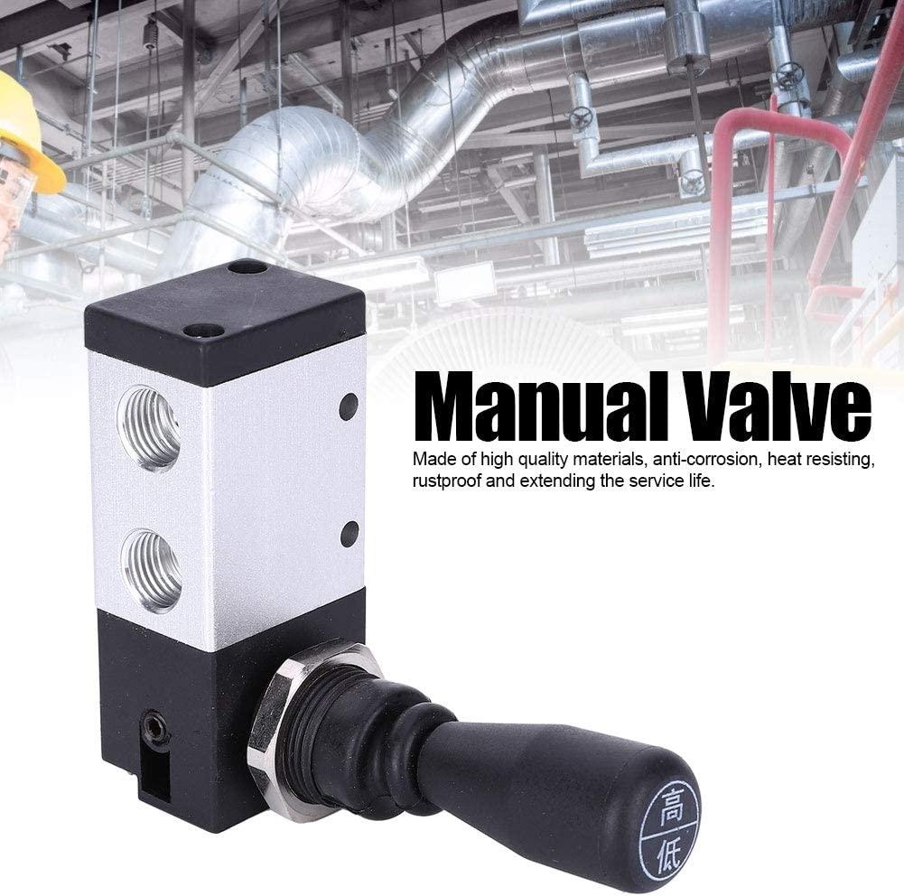 TSV98322-M 2-Position 3-Way Threaded Commutation Manual Push Hand Lever Operated Diaphragm Valve G1//4in Direct Acting Hand Pull Valve