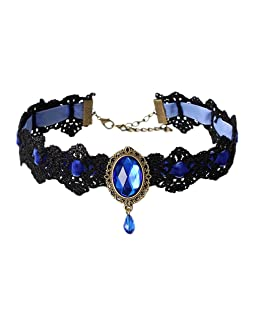 COMVIP Mujeres Ampliación de Terciopelo de Piedra gótico del cordón de la Cadena de estrangulamiento Ajustable Azul