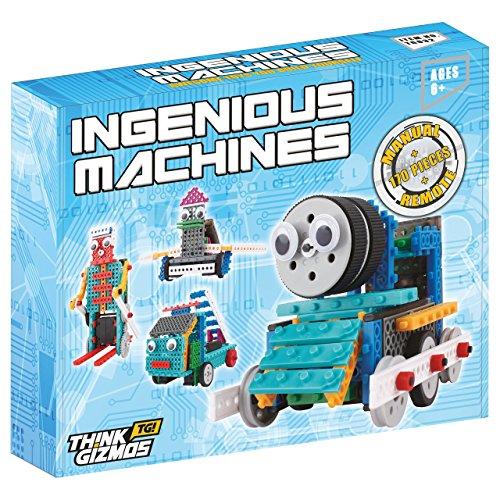 image Ensemble de construction pour enfants (Jeux éducatifs électroniques) Kit de construction de jouet télécommandé Ingenious Machines –Le fantastique Kit Robot amusant & jouet de construction TG632 par ThinkGizmos Protection de marque (Toutes les piles sont fournies)