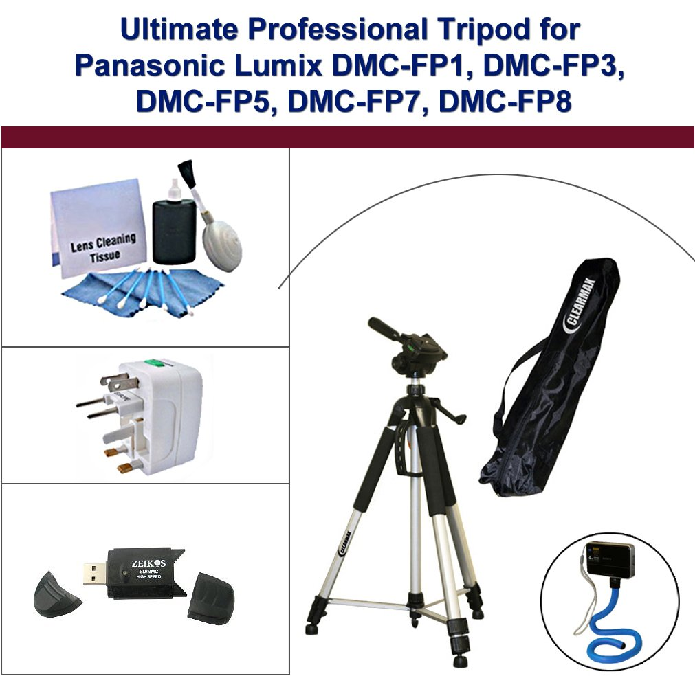 Ultimate Professional Tripod for Panasonic Lumix DMC-FP1, DMC-FP3, DMC-FP5, DMC-FP7, DMC-FP8; including Monopod, Universal Adapter, USB Flash Reader 2.0, and 5PC Lens Cleaning Kit