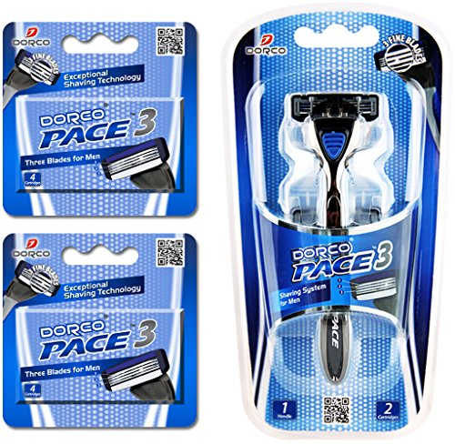 Dorco Pace 3- Three Razor Blade Shaving System- Value Pack (10 Cartridges + 1 Handle)