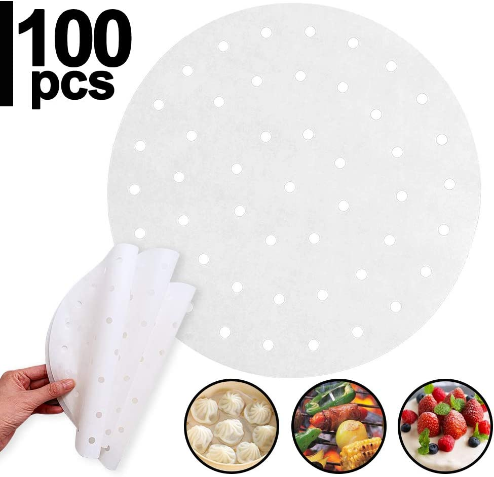 FEIFEI 100pcs Air Fryer Liners, 9inch Bamboo Steamer Liners, Perforated Parchment Steaming Papers, Non-stick Steamer Mat, Baking Paper Liners for Baking Cakes/Cooking/Dutch Oven/Air Fryer/Cheesecake