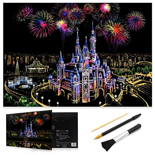 Scratch Art Rainbow Painting Paper, Sketch Pad DIY Night View Scratchboard for Kids & Adults, Engraving Art & Craft Set, Scratch Painting Creative Gift, 16'' x 11.2'' with 3 Tools (Dream Castle) (The Dream Castle)