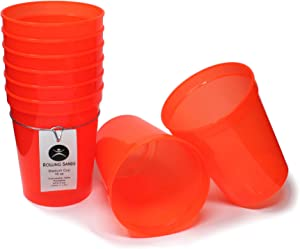 Rolling Sands 16 Ounce Reusable Plastic Stadium Cups Translucent Orange, 8 Pack, Made in USA, BPA-Free Dishwasher Safe Plastic Tumblers