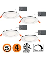 OOOLED 4 inch 9W Dimmable Slim Led Downlight (65W Equivalent) ETL Listed 650LM 5000K Daylight Junction Box Recessed Lighting, led Ceiling Light 4 Pack(SE) 5000K