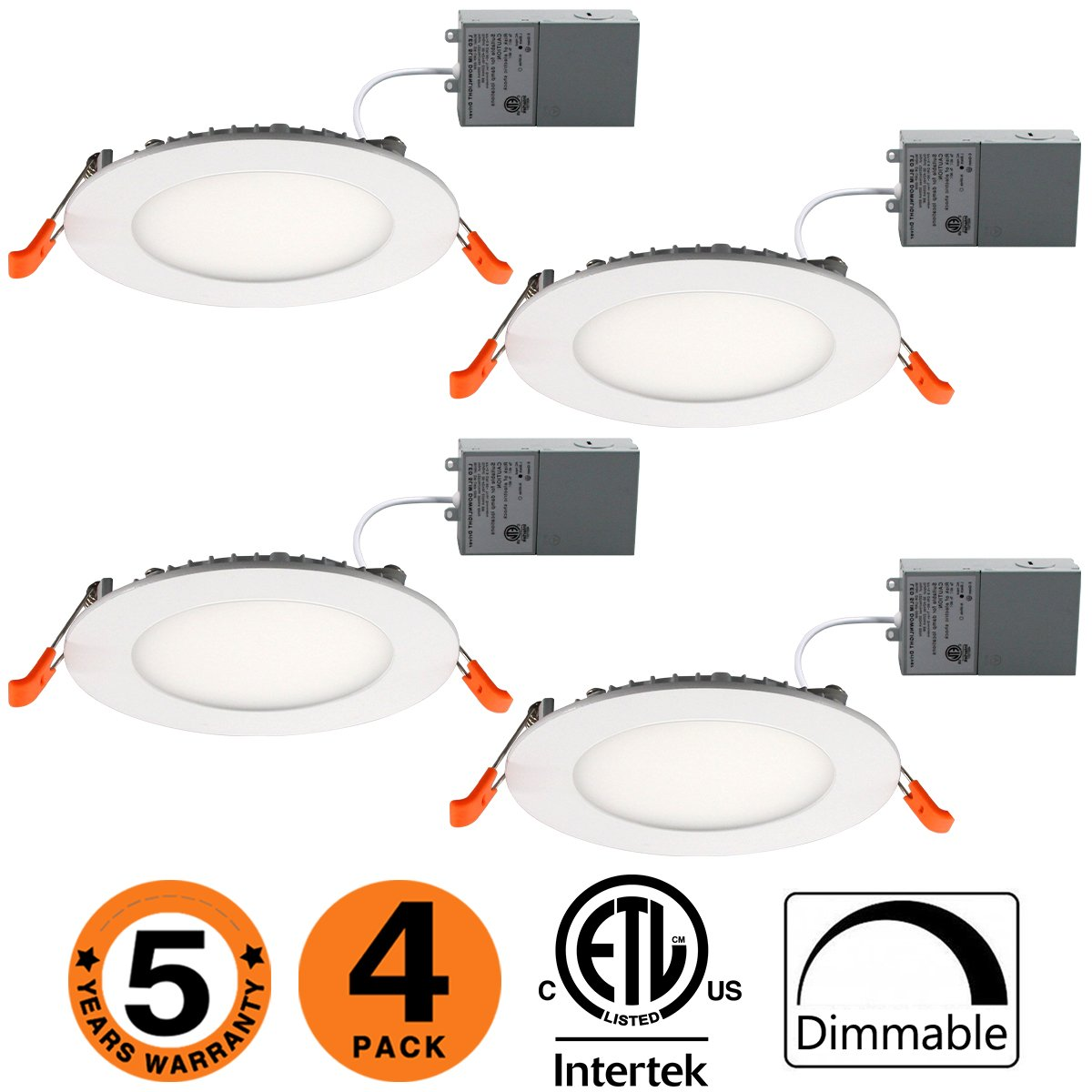Dimmable Slim Led Downlight 4 inch 9W (65W Equivalent) ETL Listed 600LM 3000K Junction Box Recessed Lighting E-4 Pack-30K