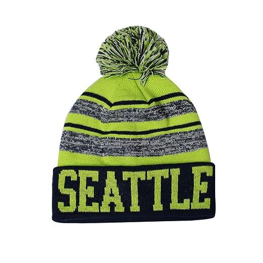 5ba1104cdcf Seattle Men s Blended Stripe Winter Knit Pom Beanie Hat (Lime Navy ...