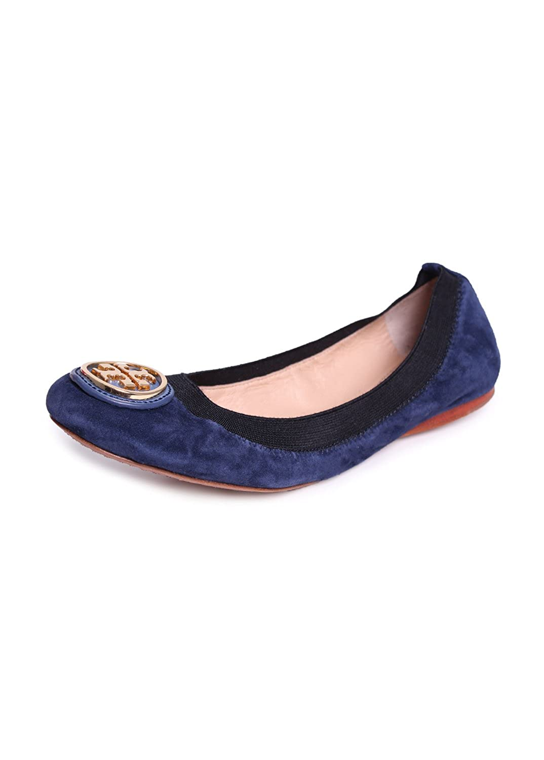 Amazon.com | Tory Burch Caroline Suede Logo Ballet Flat Shoes, Clare Blue/  Black (6.5) | Flats