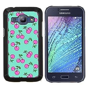 YiPhone /// Prima de resorte delgada de la cubierta del caso de Shell Armor - baya cereza bayas verdes patrón de color rosa - Samsung Galaxy J1 J100
