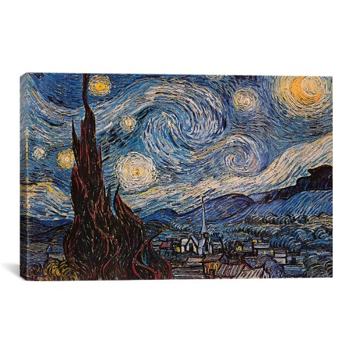 iCanvasART The Starry Night by Van Gogh Canvas Giclee Art Print, 40 by 26-Inch (40 Van)