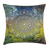 Ethnic Throw Pillow Cushion Cover, Mystic Asian Mandala Zen Culture Chakra Karma Calmness and Harmony Icon Boho Design, Decorative Square Accent Pillow Case, 18 X 18 Inches, Multicolor