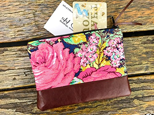 Floral Blue Leather Pouch, Coin Purse, Change Wallet