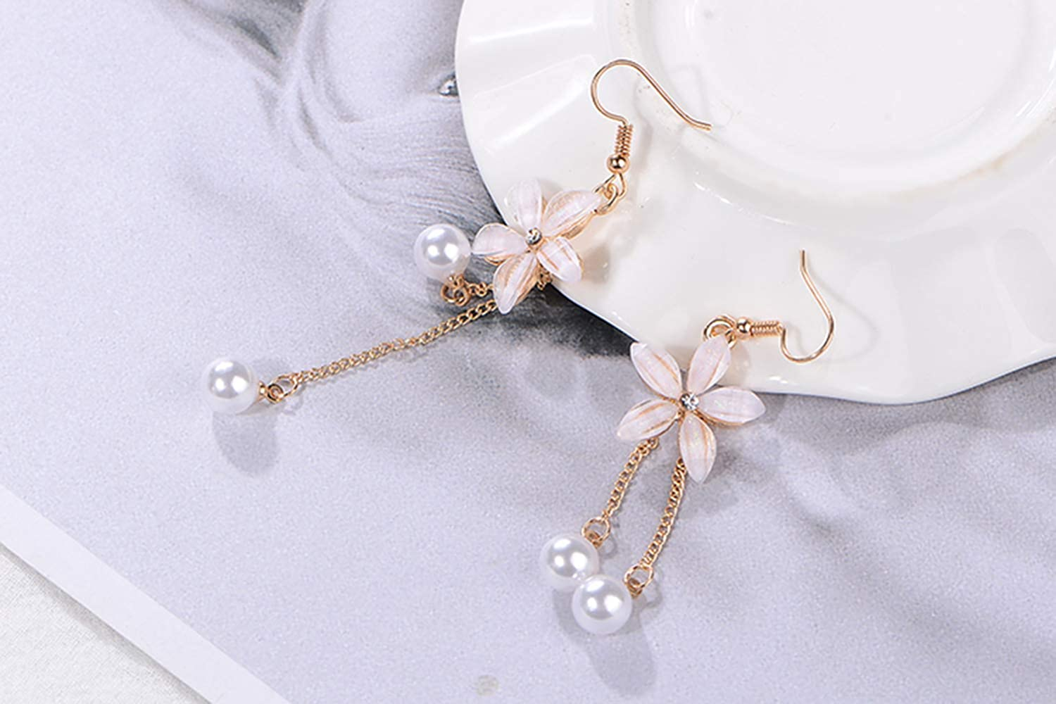 Womens Flower Shaped Long Dangle Earrings CICINIO Hypoallergenic Freshwater Cultured Pearl Earrings Great Gift for Girls