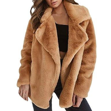 Manteau femme,Manteau d'hiver pour femmes manteau chaud lâche manteau col fourrure synthétique,Manteau Couleur unie Col rabattu Pull femme Pull femme