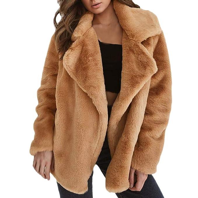 VICGREY ❤ Cappotto di Pelliccia, Nvernale Giacca Lungo Cappotto Cappotti Giacca Outwear di Pelliccia Sintetica da Donna Caldo Faux Fur Cappotto Giacca