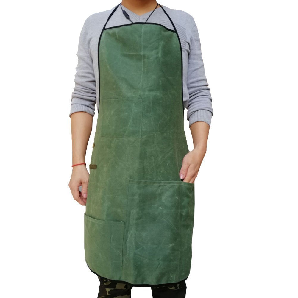 Waxed Canvas Heavy Duty Shop Apron Durable Workshop Apron, Adjustable Safety Apron or Worker's Apron for Woodworking, Building, Carpentry, Grilling & Welding for Men WQ0004