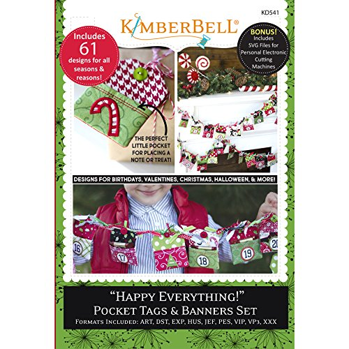 (Kimberbell Happy Everything Pocket Tags & Banners Machine Embroidery CD KD541)