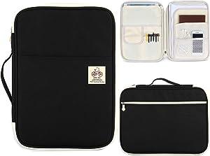 BOMKEE A4 Documents Bag Waterproof Business File Holder Storage Receipts Tickets Passport Organizer for Office School Travel Multi-Functional A4 Portfolio Bag (Black)