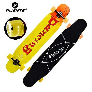 GYFY Tabla de Skate Doble Curva Tablero de Baile Brus Calle más Arce Flash Cuatro Ruedas Skateboard Adolescente Macho y Hembra Adulto Skateboard,Orange: ...