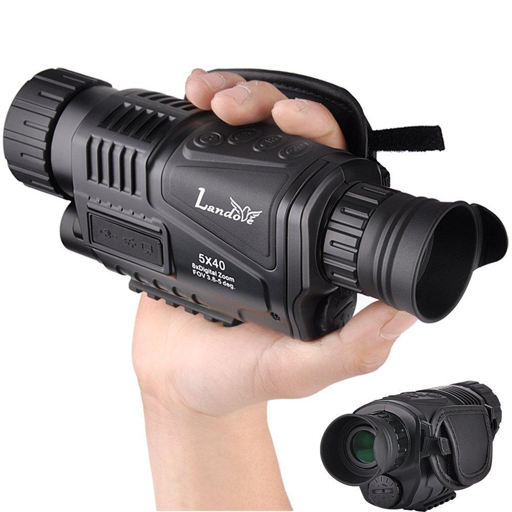 Landove 5 x 40 mm infrarrojos HD digital visió n nocturna monocular con 1, 5 pulgadas TFTLCD y cá mara & funció n de videocá mara para 5 mp foto 720p ví deo hasta 350 m/1150 ft distancia de detecció n para la noche