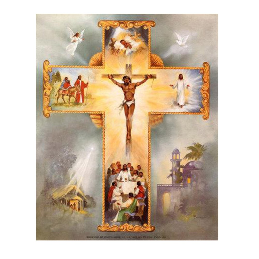 MKChung Jesus Cross, 5D Diamond DIY Painting for DIY Gift Home Restaurant Decor,Partly Drill