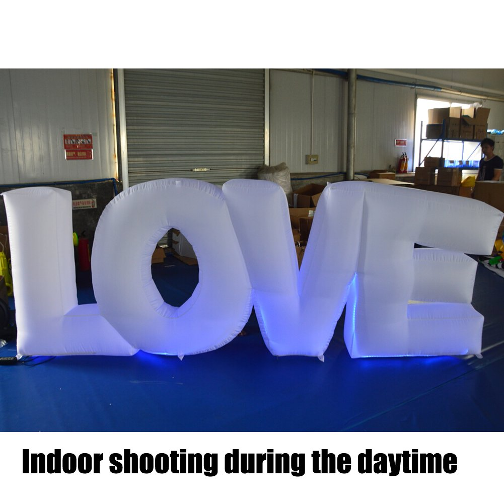 Inflatable LOVE Letter Party Wedding Decorations White Oxford with 17-color LED Changed by Touch Screen Remote Control