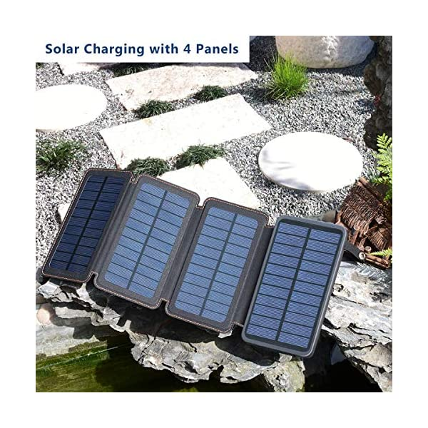 61sKEn0rUDL A ADDTOP Solar Powerbank 25000mAh Solar Ladegerät mit 2 USB Power Bank Wasserdicht Tragbare Externer Akku für…